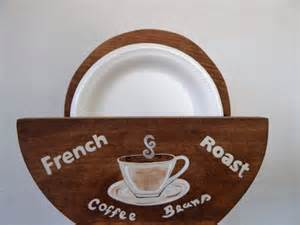 coffee themed paper towel holder paper plate holder wood paper plate holder coffee themed