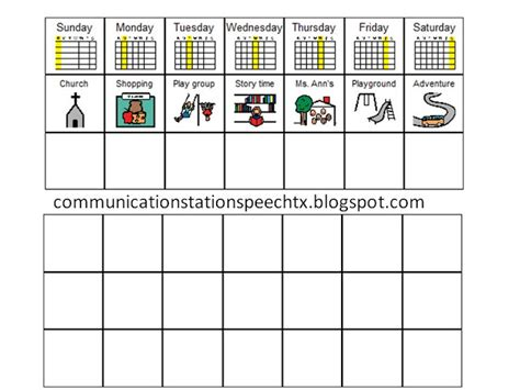 speech schedule template communication station speech therapy pllc visual