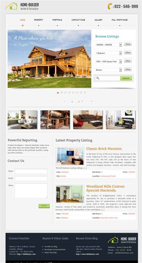 5 responsive home builder wordpress themes