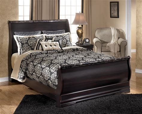 signature design by esmarelda sleigh bed with faux marble trim becker furniture