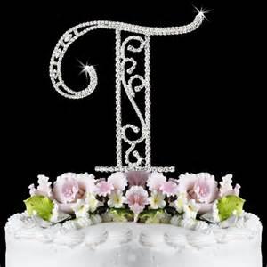 ct roman letter t wf monogram wedding cake toppers