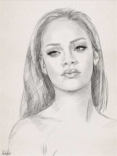 Portraits And Sketches pencil sketch drawing portrait of rihanna by ahmad kadi