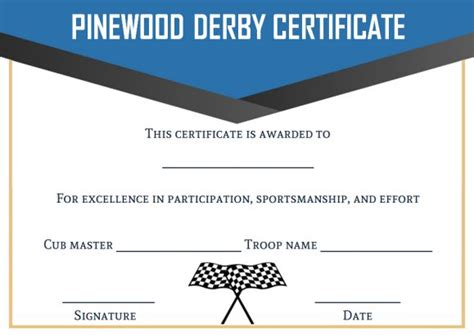 pinewood derby certificate template 9 certificates all