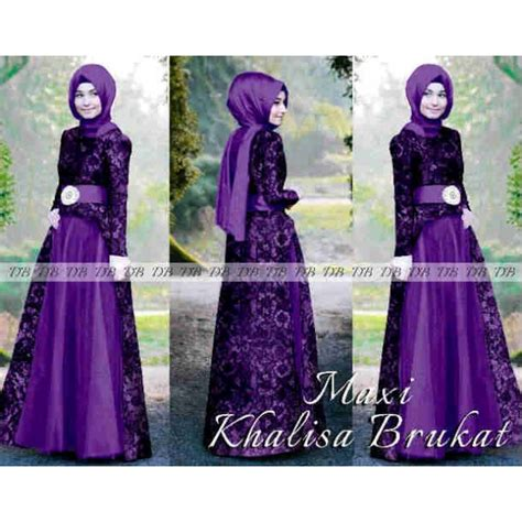 Maxi Busui Brukat Nayla Ungu by Maxi Khalisa Brukat Model Baju Pesta Muslim Terlaris