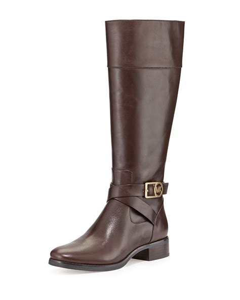 michael kors brown boots michael michael kors bryce leather boot in brown lyst