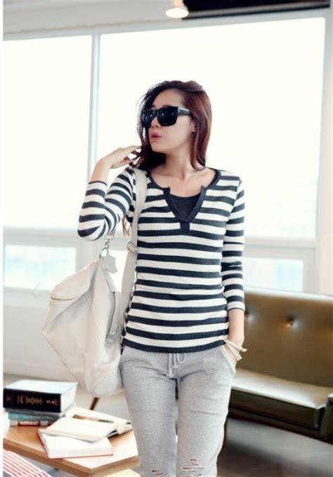 Shjt217080198543 Baju Biru Garis Baju Import kaos wanita import garis garis lengan panjang model
