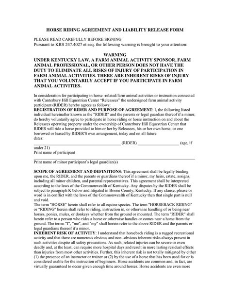 Horse Riding Agreement And Liability Release Form In Word And Pdf Formats Horseback Waiver Template