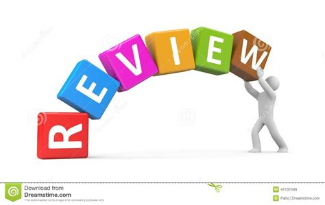 and review person hold cubes with text review stock illustration