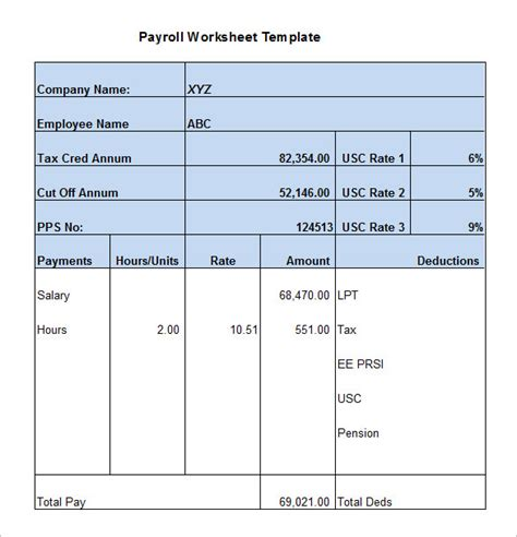Payroll Worksheet by 5 Payroll Worksheet Templates Free Excel Documents