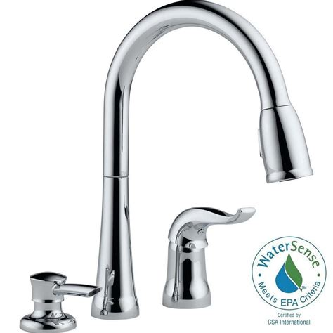 kitchen faucet with soap dispenser delta kate single handle pull kitchen faucet with