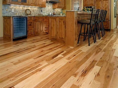 this kitchen has hickory flooring and cabinets ideas