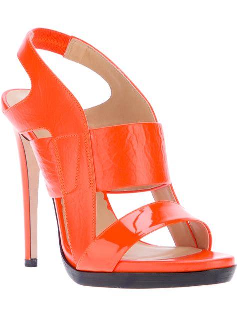 orange strappy sandals shoeniverse reed krakoff orange patent strappy sandal