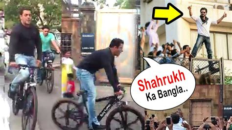 Salman Khan Shouts 'Shahrukh Ka Bungalow' Cycling In Front ...