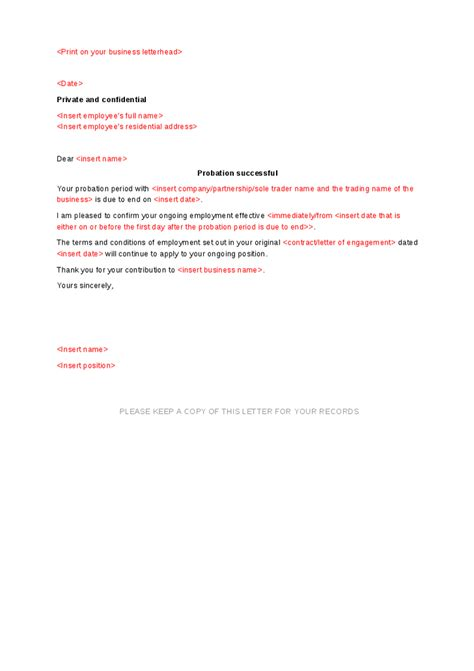 Confirmation Letter After Completion Of Probation Period Successful Probation Letter Template Hashdoc