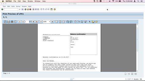 balance certification letter sap balance confirmation tutorial free sap fi