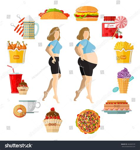 weight gain in the middle section flat illustration weight gain plump fat stock vector