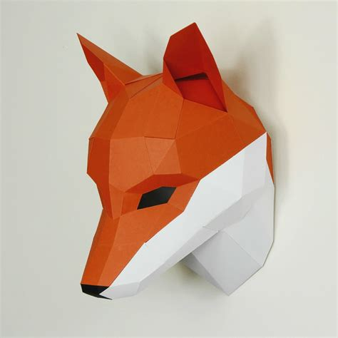 Origami Fox Mask - fox trophy mask wintercroft
