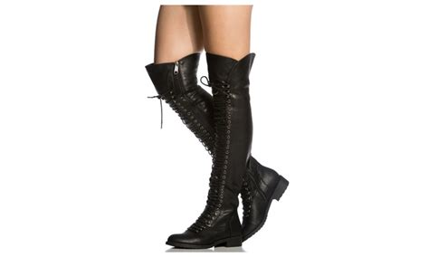the knee lace up faux leather thigh high