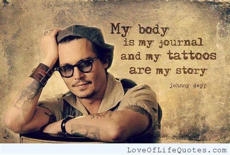 johnny depp tattoo saying johnny depp quote on tattoos and his body http www