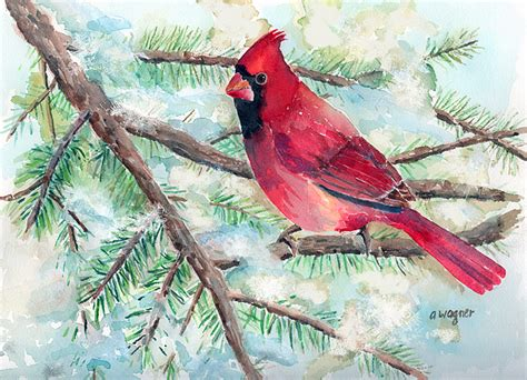 winter cardinal painting by arline wagner