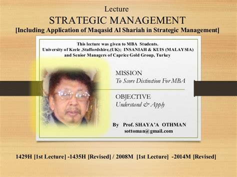 Mba Strategic Management Uk by Islamic Management By Shaya A Othman Management Research