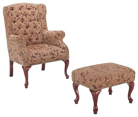 Tufted Accent Chair With Ottoman Coaster Button Tufted Wing Accent Chair With Ottoman Traditional Armchairs And