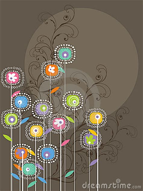 whimsical bright flowers  swirls royalty  stock