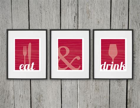 dining room prints wall eat drink fork knife spoon