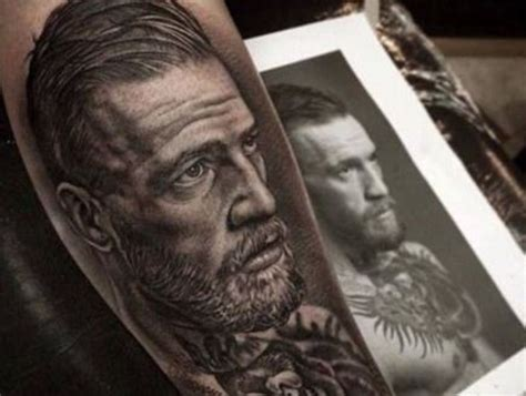 conor mcgregor tattoo portrait fan gets lifelike conor mcgregor tattoo thescore com
