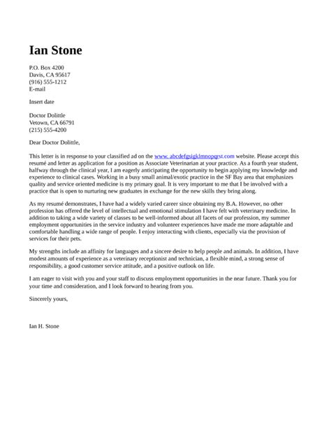 cover letter veterinary associate veterinarian cover letter sles and templates