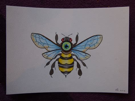 all seeing bee tattoo commission for b by motherlickerr on
