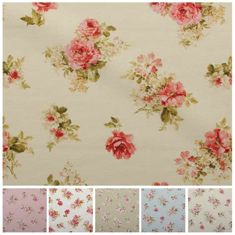 vintage chintz shabby roses print retro 100 cotton curtain upholstery fabric ebay