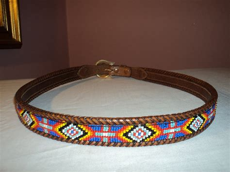 l l bean indian beaded bead leather belt 38 mens by toycrazyme
