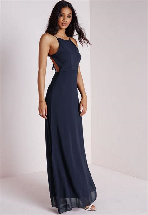 Maxi Dinna strappy back maxi dress navy missguided