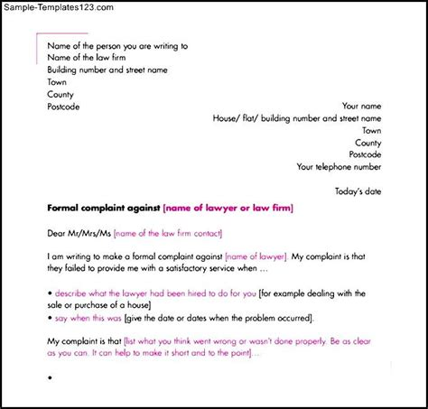 Complaint Letter Writing Format Pdf Formal Complaint Letter Template Pdf Printable