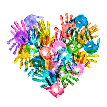 colorful children hand prints forming  heart shape stock