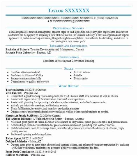 Resume Sles For Hospitality And Tourism Tourism Resume Exles Travel And Hospitality Resumes