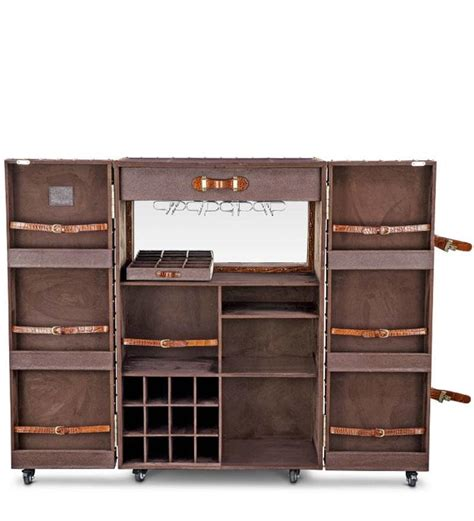 Trunk Bar Cabinet Buy Heritage Trunk Bar Cabinet In Brown Leather By Studio Ochre Modern Bar Cabinets