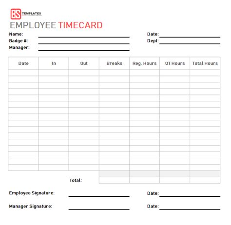 Time Card Template Free Employee by Time Card Template Free Time Sheet Template In Excel