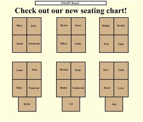 seating chart kristen foley