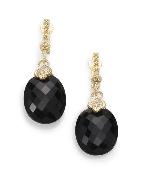 black earrings in gold judith ripka black onyx 14k yellow gold drop