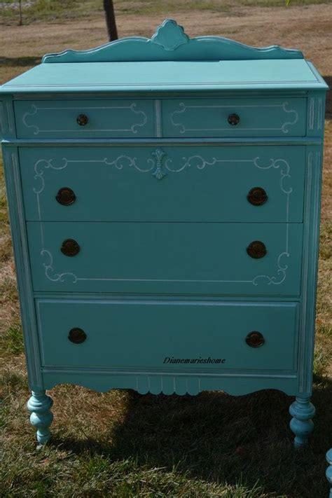 turquois blue dresser chest bedroom vintage style shabby