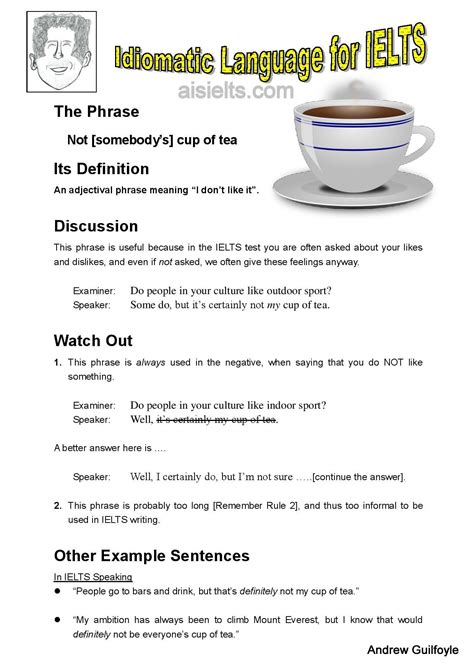 A Place For Ielts Tea by Idiomatic Vocabulary 187 Andrew S Ielts Studio 安德魯雅斯教室