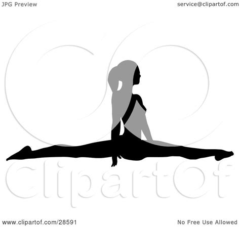 Drawing Of A Doing The Splits by Clipart Illustration Of A Black Silhouetted Gymnast