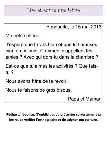 Lettre De Presentation En Francais Exemple Lire Et 233 Crire Une Lettre