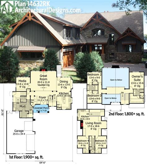 guest house plans with garage architectural designs rugged craftsman house plan 14632rk
