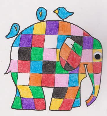 Elmer Patchwork Elephant - lines across elmer the patchwork elephant coloring page