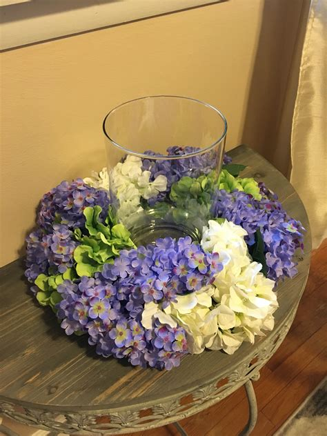 Floral Centerpiece Hydrangeas And Lilacs Centerpiece Candle And Flower Centerpieces