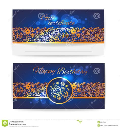 happy birthday banner card template gift certificate floral design vector print template