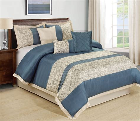 7 piece liverpool blue beige comforter set